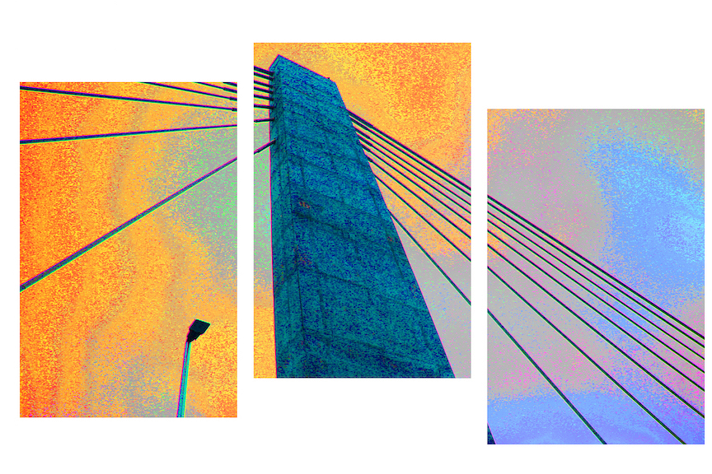 """Suspension I (Lincoln Bridge)"" by Patricia Brock, 36x22in, photography, triptych on acrylic, $575 