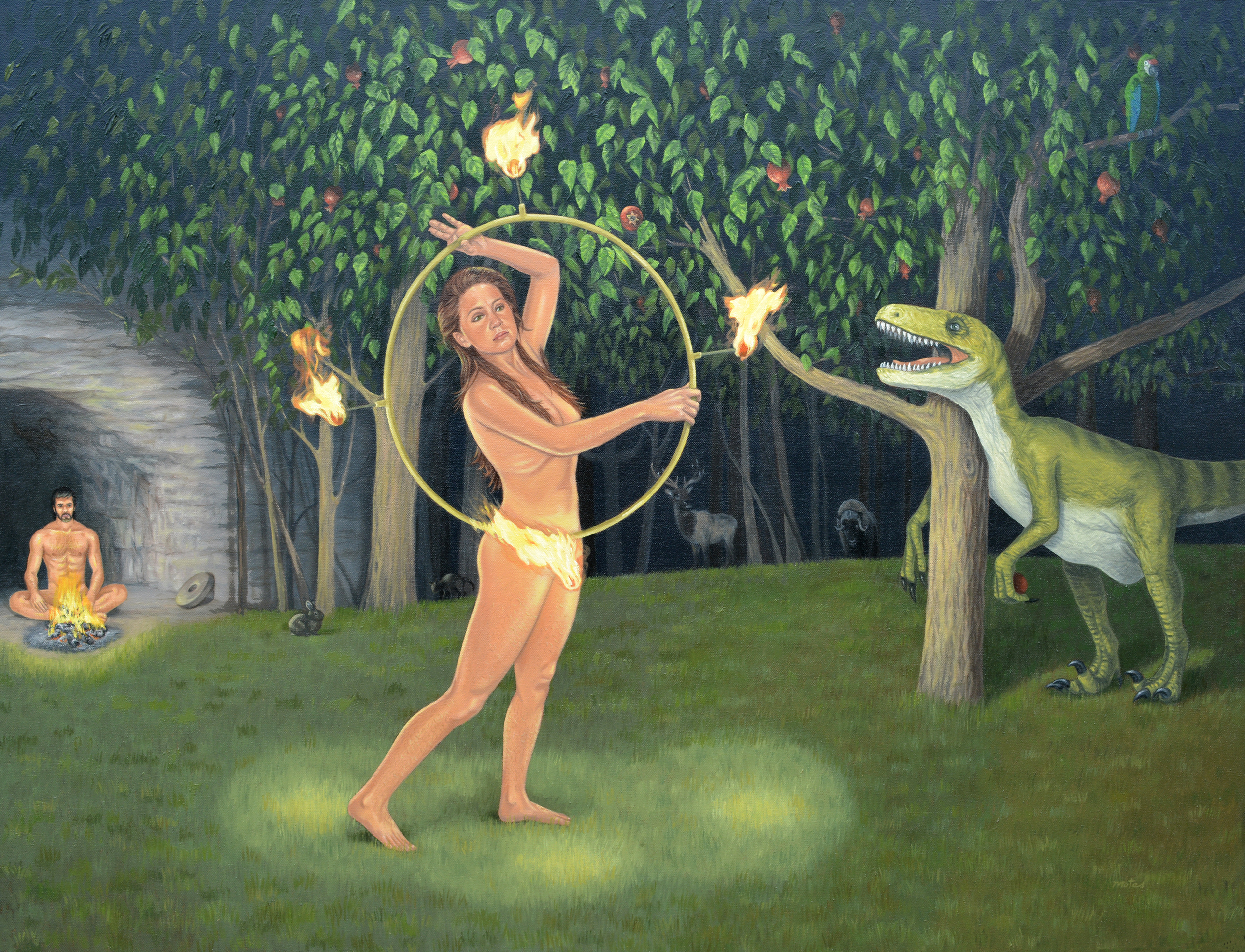 """Midnight in the Garden"" by Barry Motes,, 36x48in, oil on canvas, $2400 