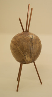 """Untitled #5"" by Sid Webb, about 16in tall, spalted maple and walnut dowels (2016), $325 