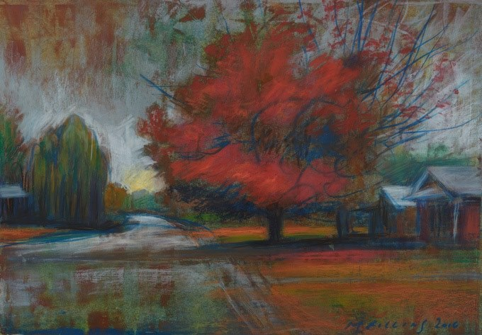 "Martin Rollins, ""Red Maple,"" oil pastel on paper, 10 1/2"" x 15"""