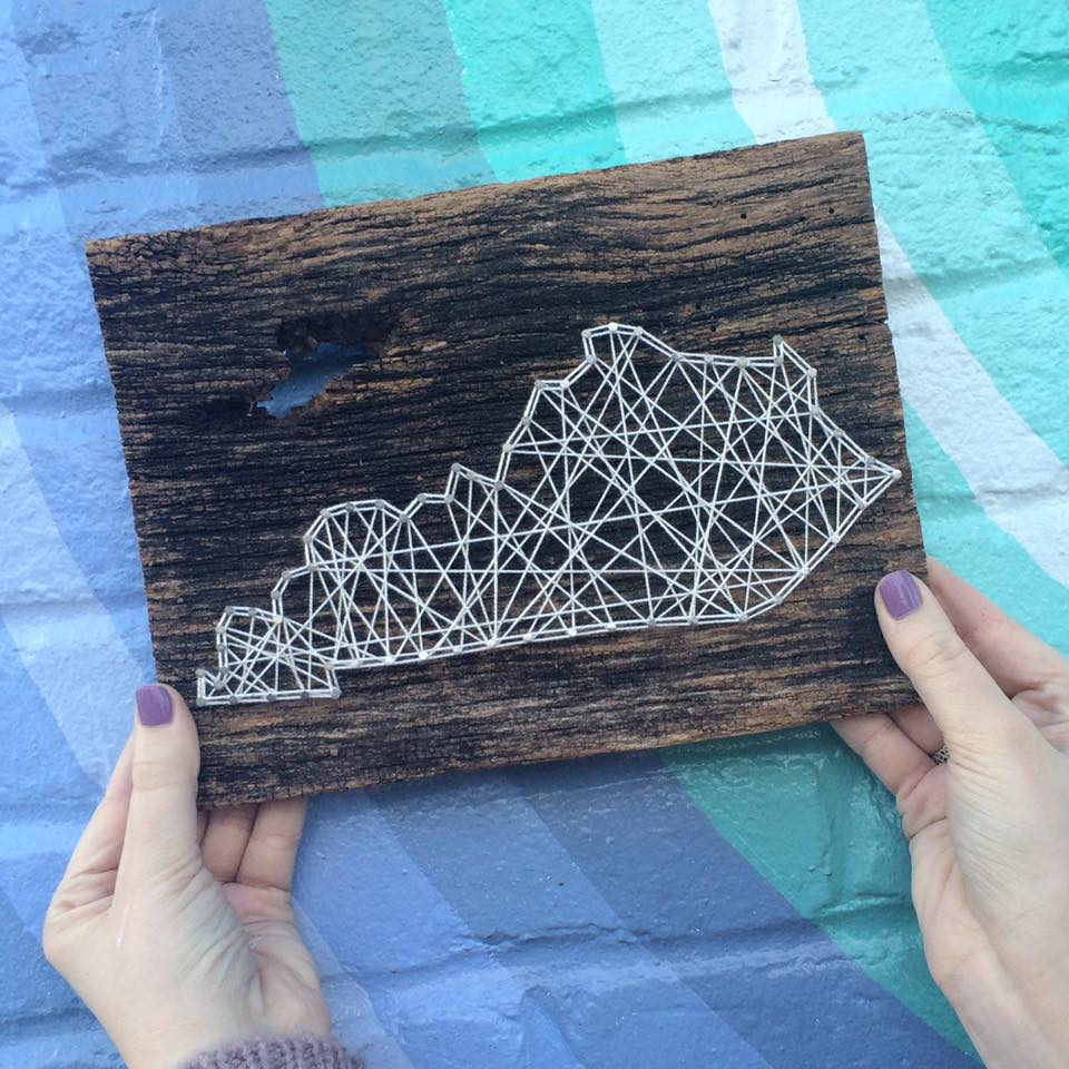 """My Old Kentucky Home"" by Wood & Twine, 8x6in, wood, string (2016), $35 