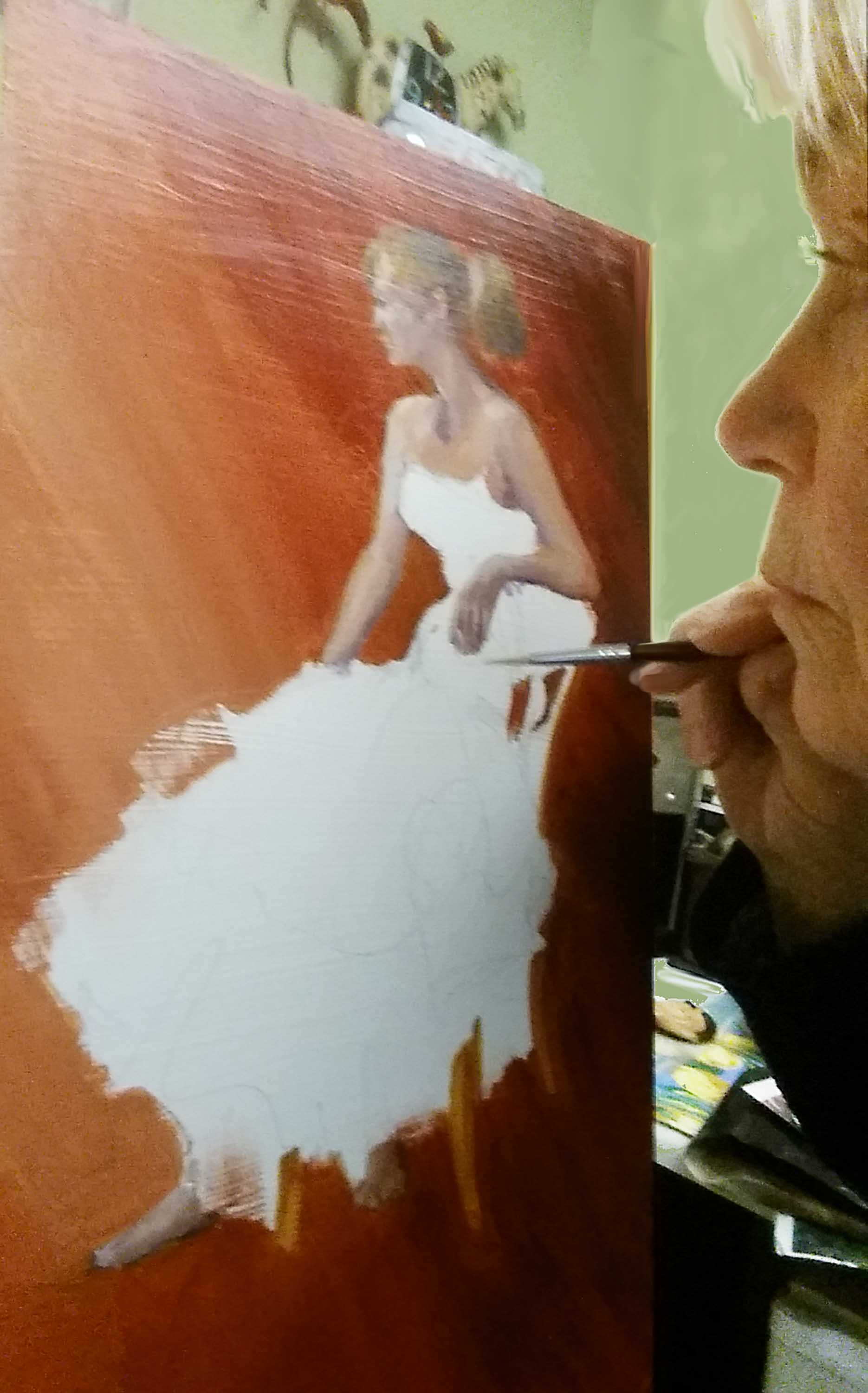 "Jill Baker working on her painting ""Lady In Waiting"" (2016)"