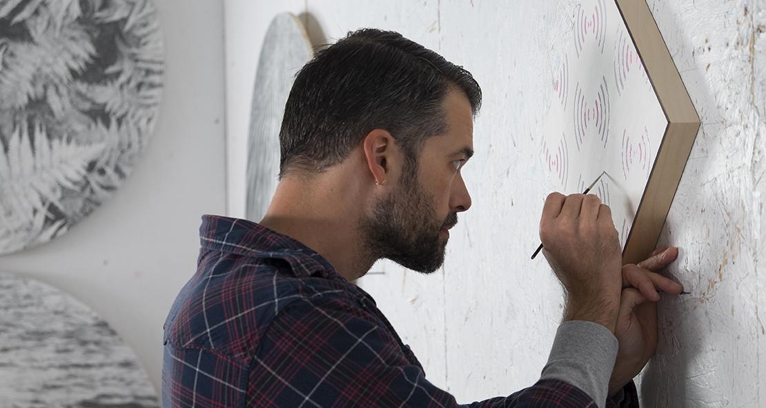 Gibbs Rounsavall at work in his studio