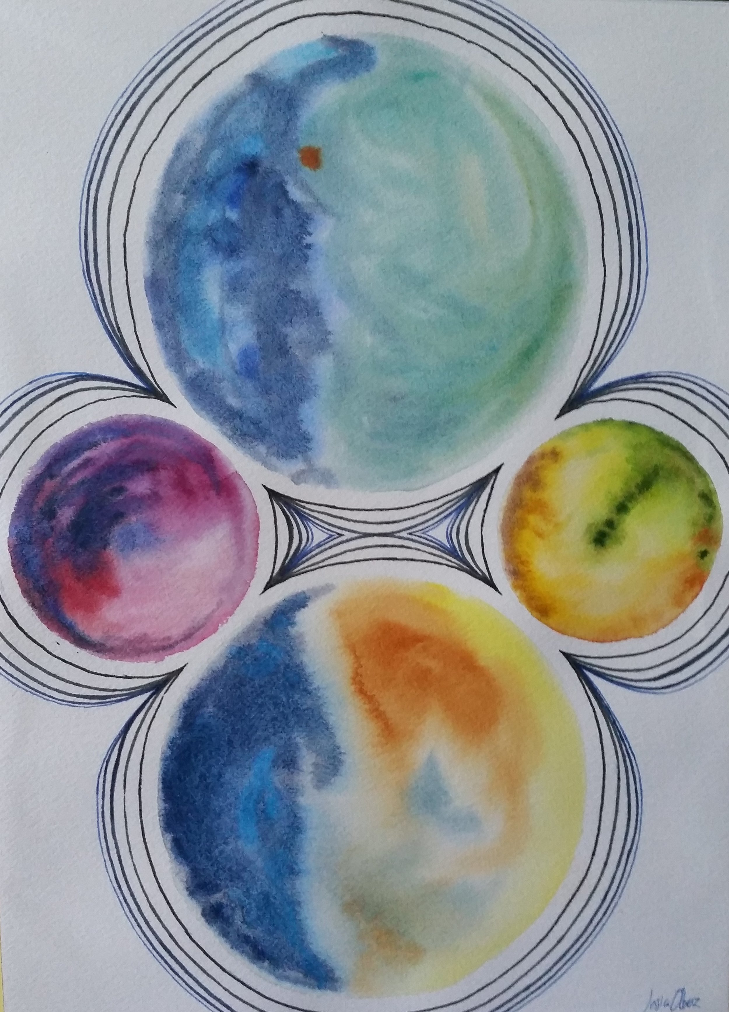 """Four Circles"" by Jessica Olberz Singleton, 10x14in, watercolor and ink, $50 (unframed) 
