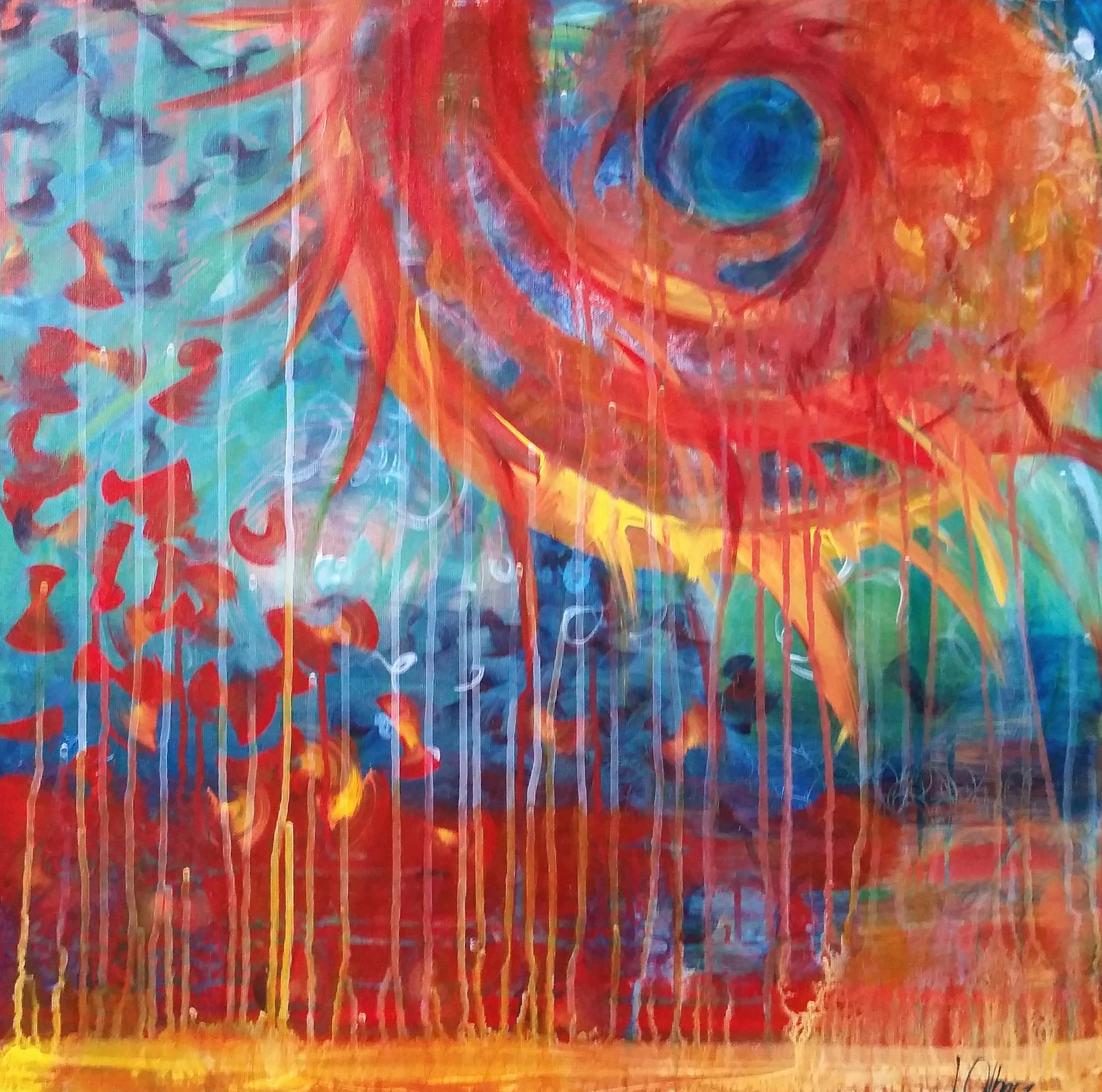 """Spinning Sun"" by Jessica Olberz Singleton, 24x24in, acrylic on canvas, $85 