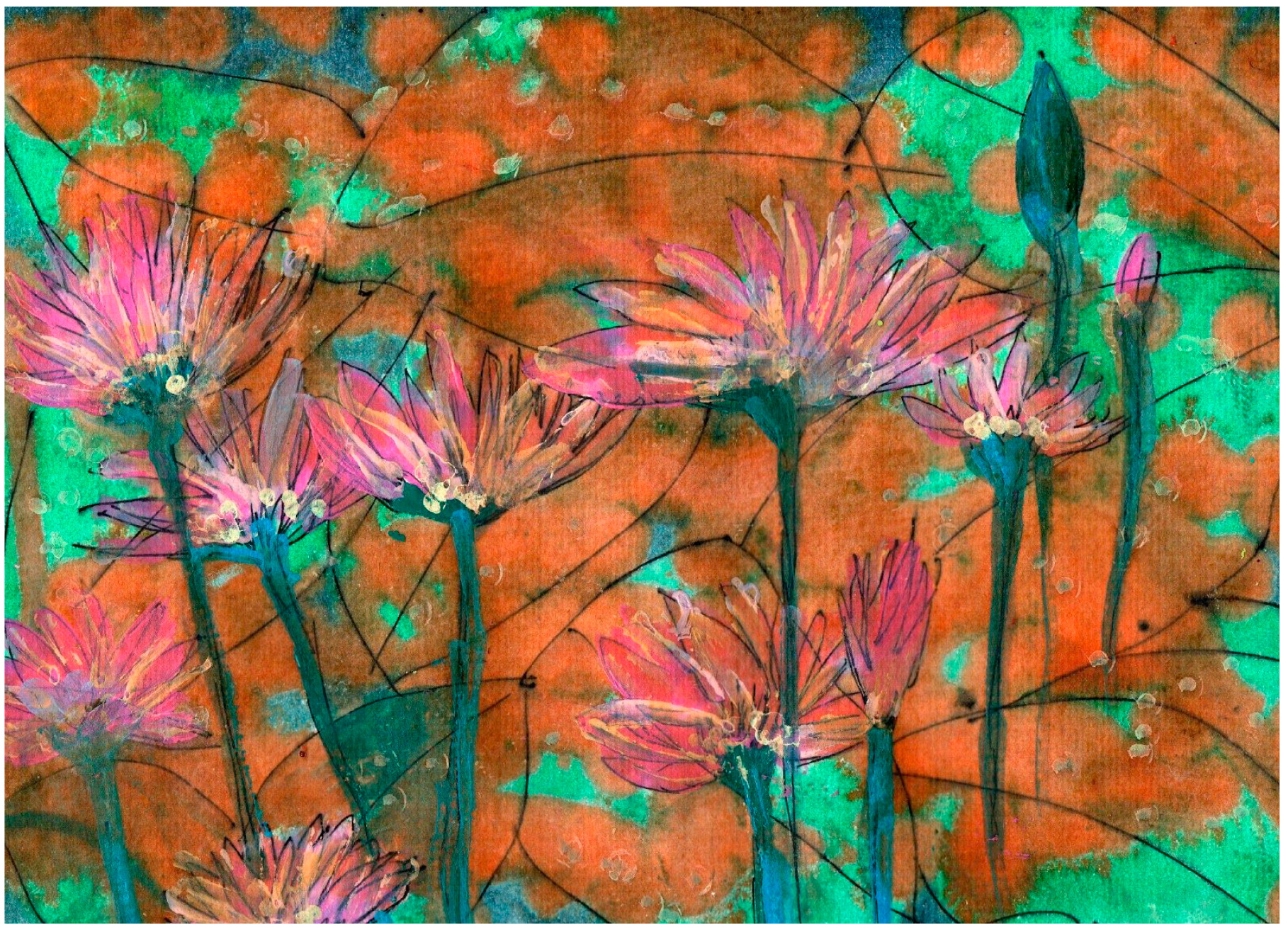 """""""Water Lilies""""by Julie Rowling, 9x11in, liquid water color and pen and ink on cold press water color paper (2016), $125 (matted & framed)