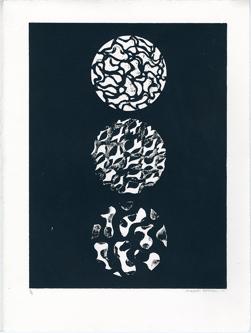 """Untitled #4"" by Elizabeth Stevenson, 11x15in, collograph relief print on paper (2015), $150 