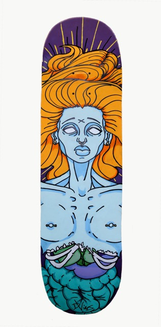 """Skateboard"" by Damien Vines, 30x8in, acrylic and oil markers (2016), $100 