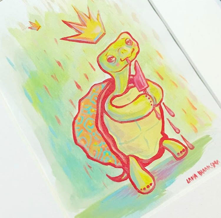 """Terrence the Turtle"" by Michael John Braaksma, 5x7in, acrylic on paper, $100 