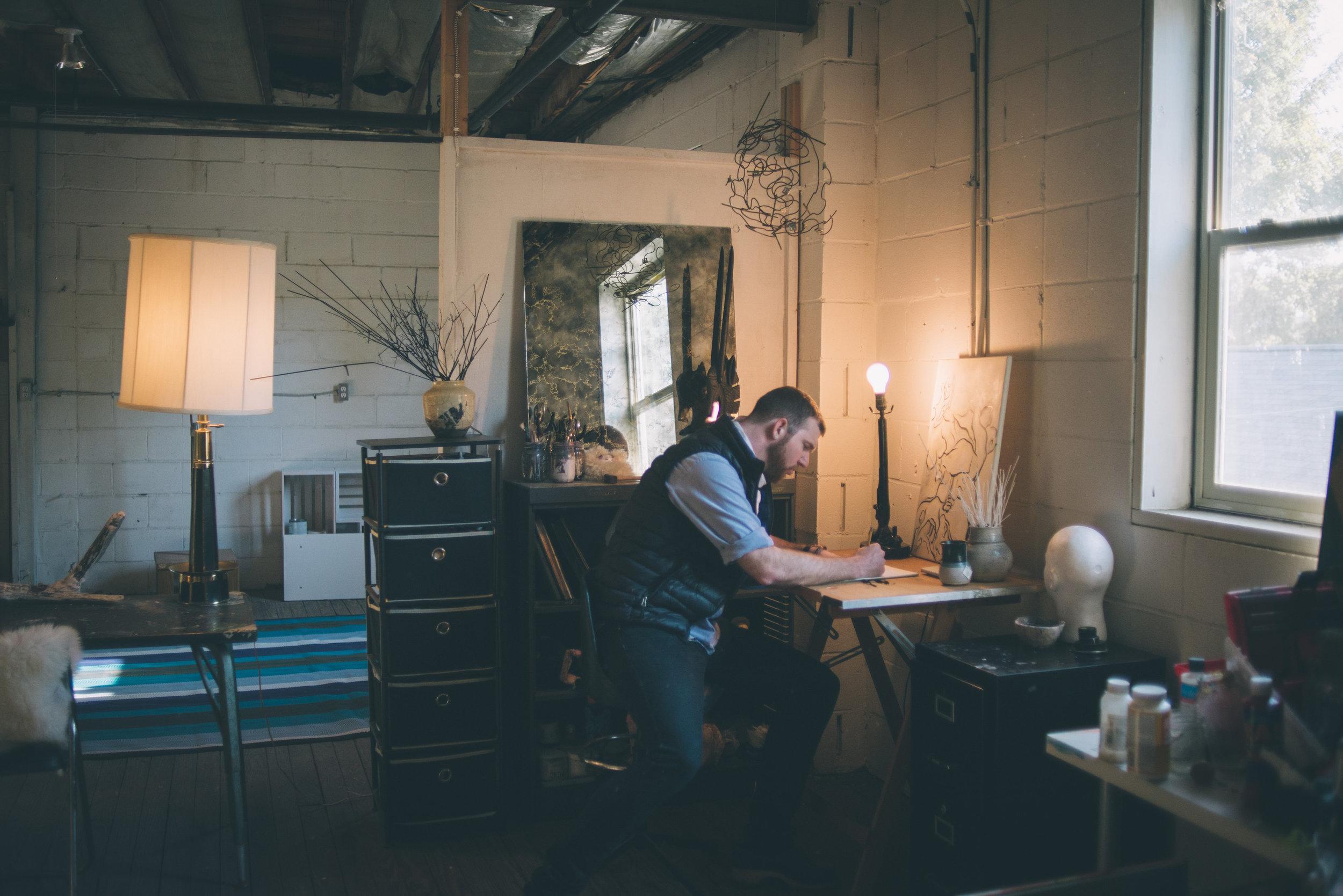 Michael John Braaksma in his studio. Photo by Sarah Katherine Davis for LVA.