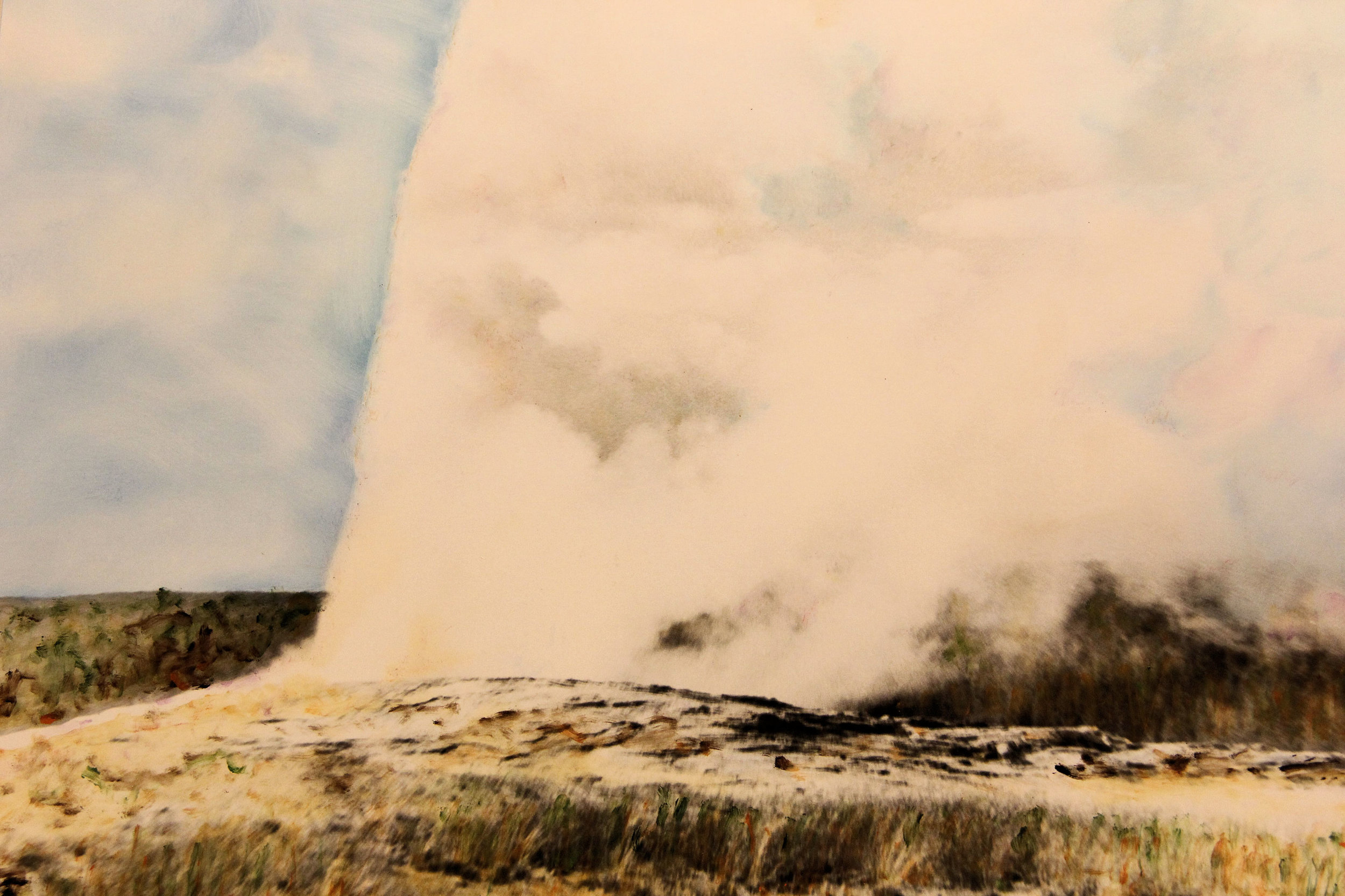 """""""Old Faithful (Yellowstone National Park)"""" by Judy Rosati, 16x20in, hand colored silver gelatin photograph (2015), $125 (matted & framed)