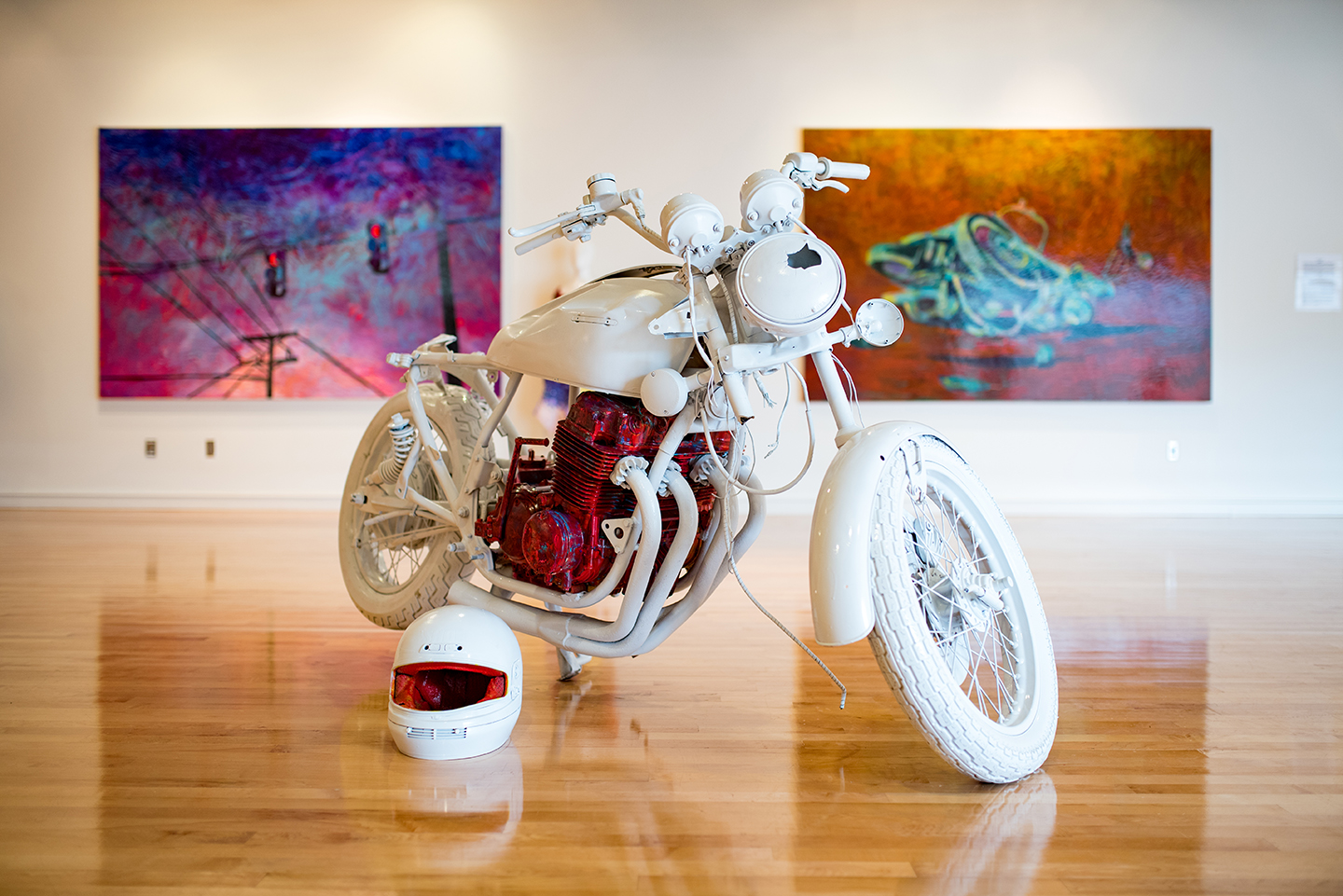"""Wrecked Bike""   by Lennon Michalski, 36 x 48 x 84 in, Honda Motorcycle and paint (2016) 