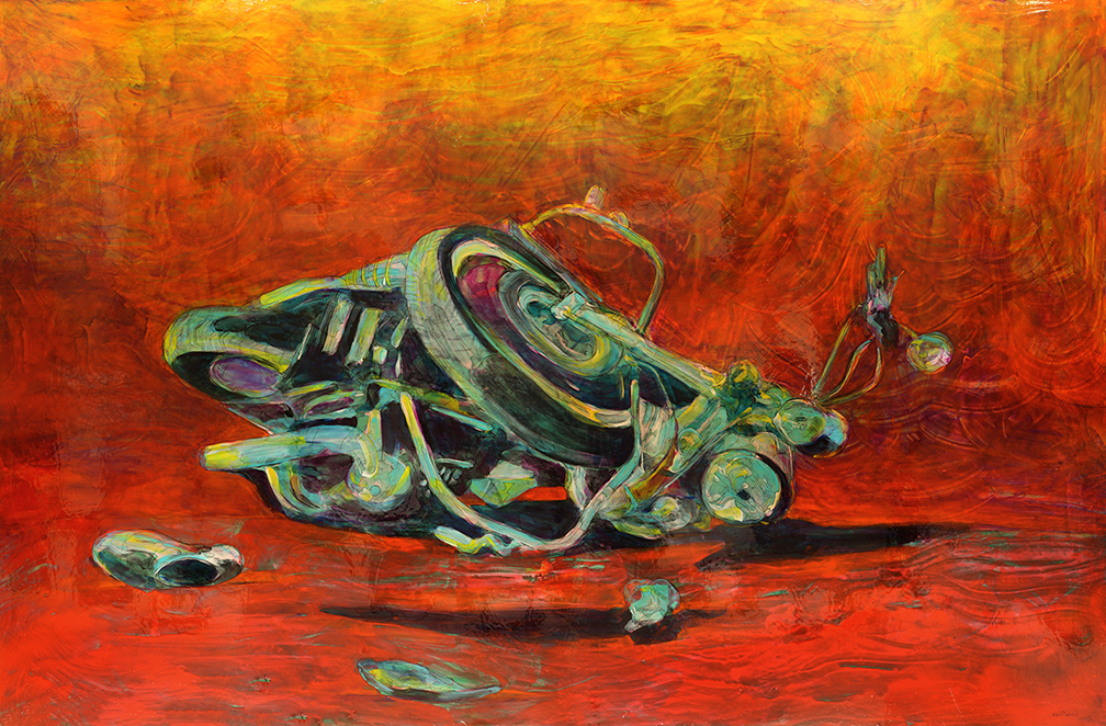 """""""Wreck"""" by Lennon Michalski, 72 x 108 in, water based pigment and mixed medium on canvas (2016)"""