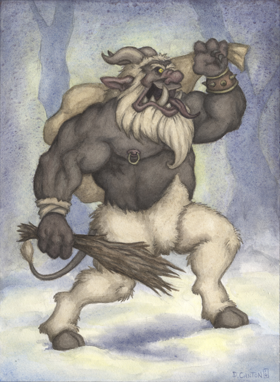 """Krampusnacht"" by Darrenn Canton, 9x12in, watercolor & colored pencil (2016)"