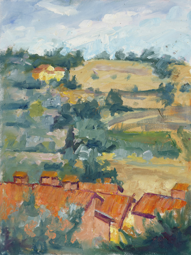 """Yellow Villa"" by Catherine Bryant, 12x9in, oil on canvas, plein air (2010), $395 