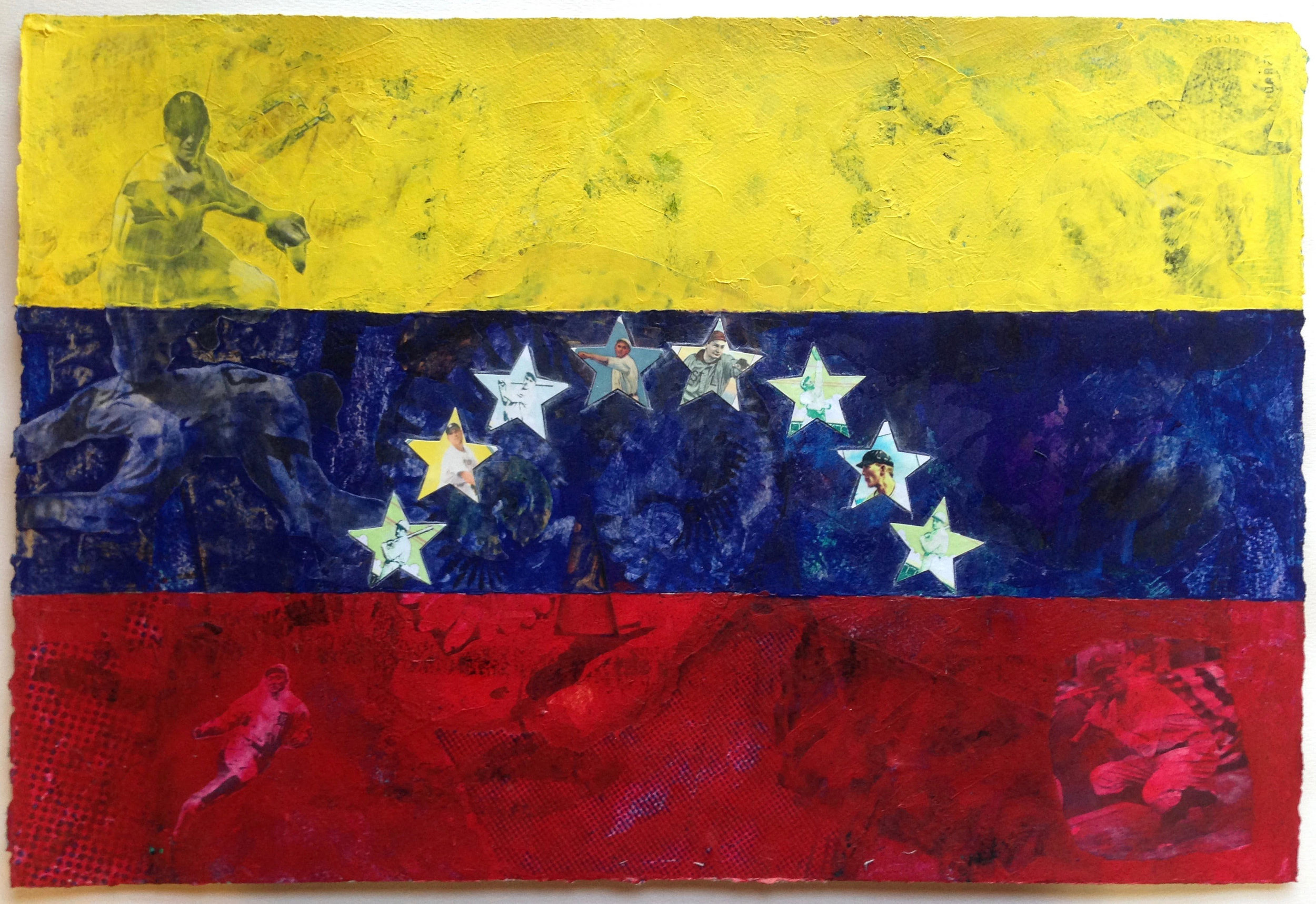 """""""8 Men Out (Venezuela)"""" by Patrick Donley, 19x26in (framed), mixed media on arches (2016)"""