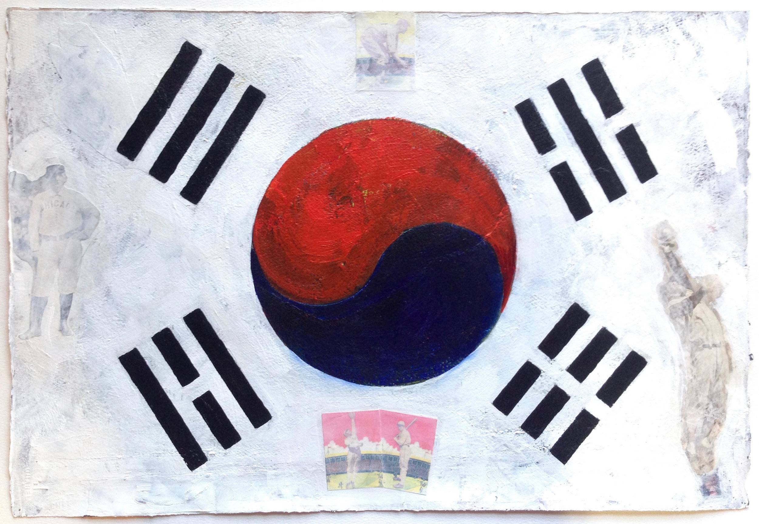 """Taijitu (South Korea)"" by Patrick Donley, 20x26in, mixed media on arches (2016)"
