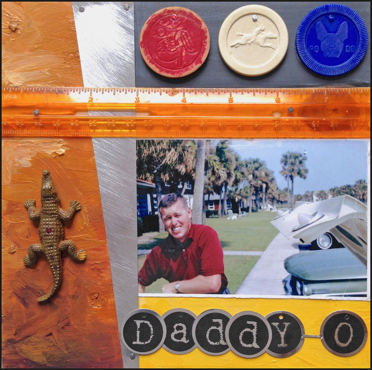 """Daddy-O"" by Patrick Donley, 8x8in, mixed media on wood (2015)"
