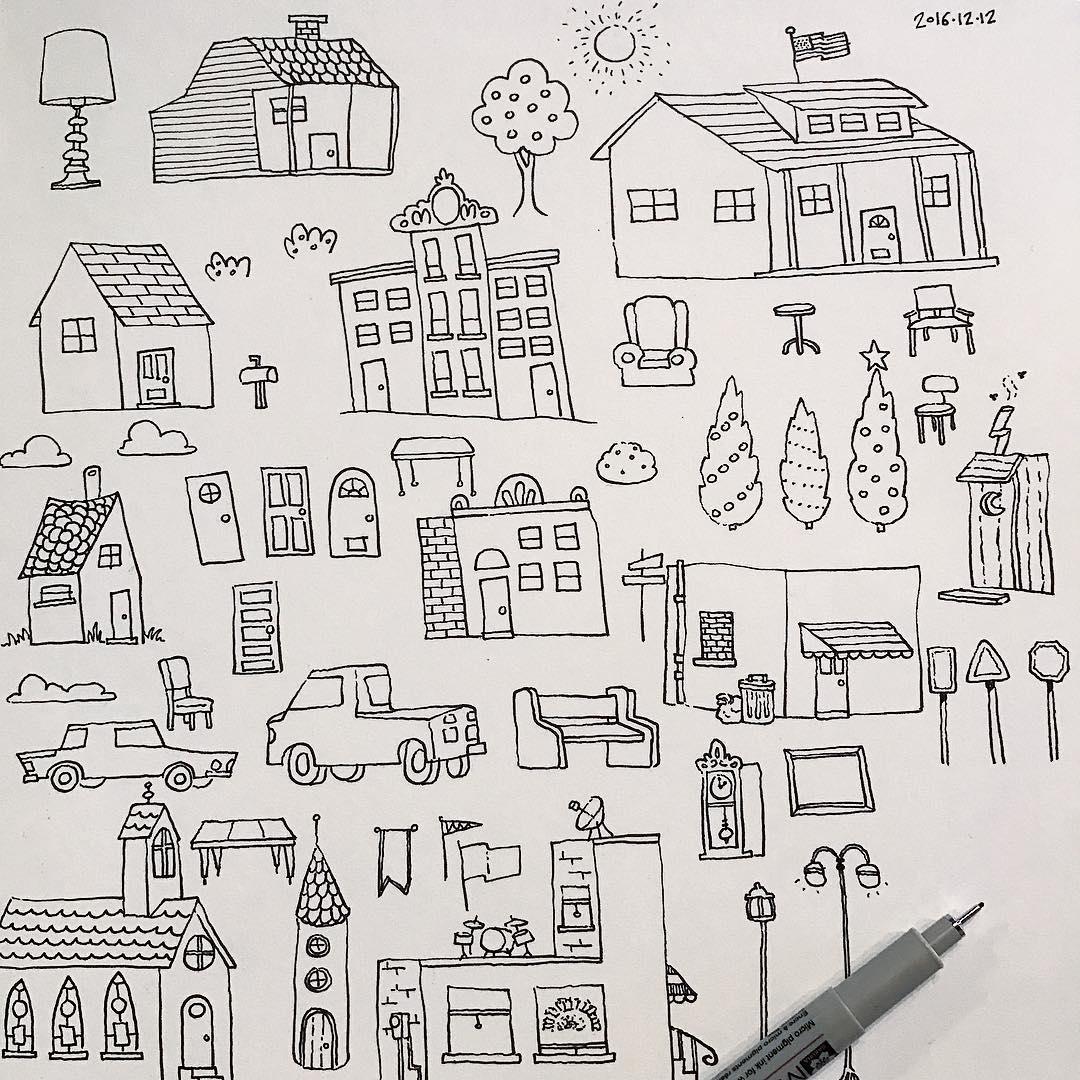 """""""Homes"""" by Jeff Dehut, 8x8in, micron pen (2016)"""