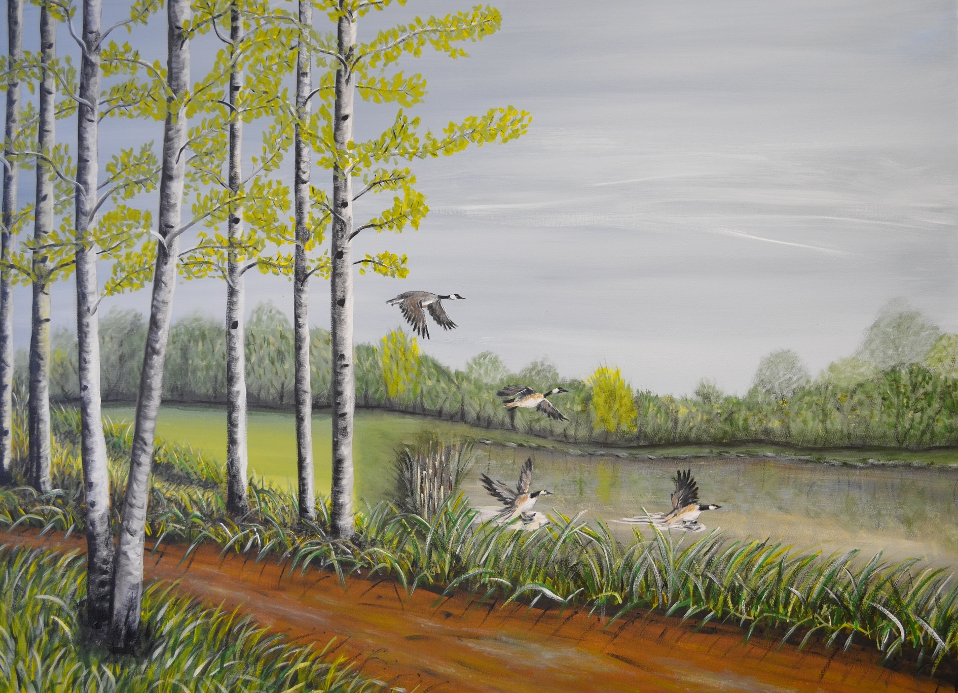 """""""Geese Be With You"""" by Teresa McCarthy, 40x36in, acrylic on canvas (2016)"""