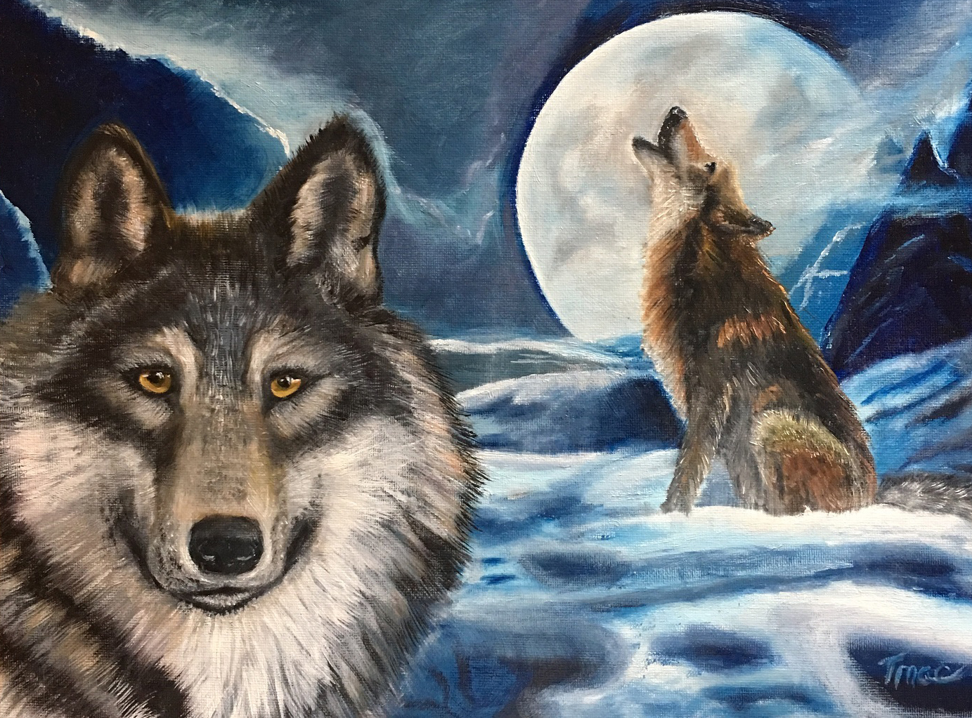 """""""Winter Wolf with Full Moon"""" by Teresa McCarthy, 18x24in, oil on canvas (2016)"""