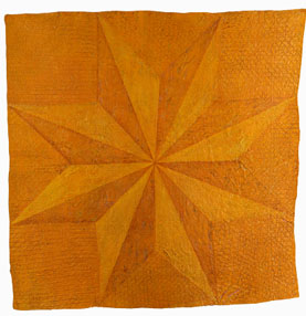 """  Gold Star"" by Denise Furnish,   77.5x76in, discarded lone star quilt, acrylic, $3200 