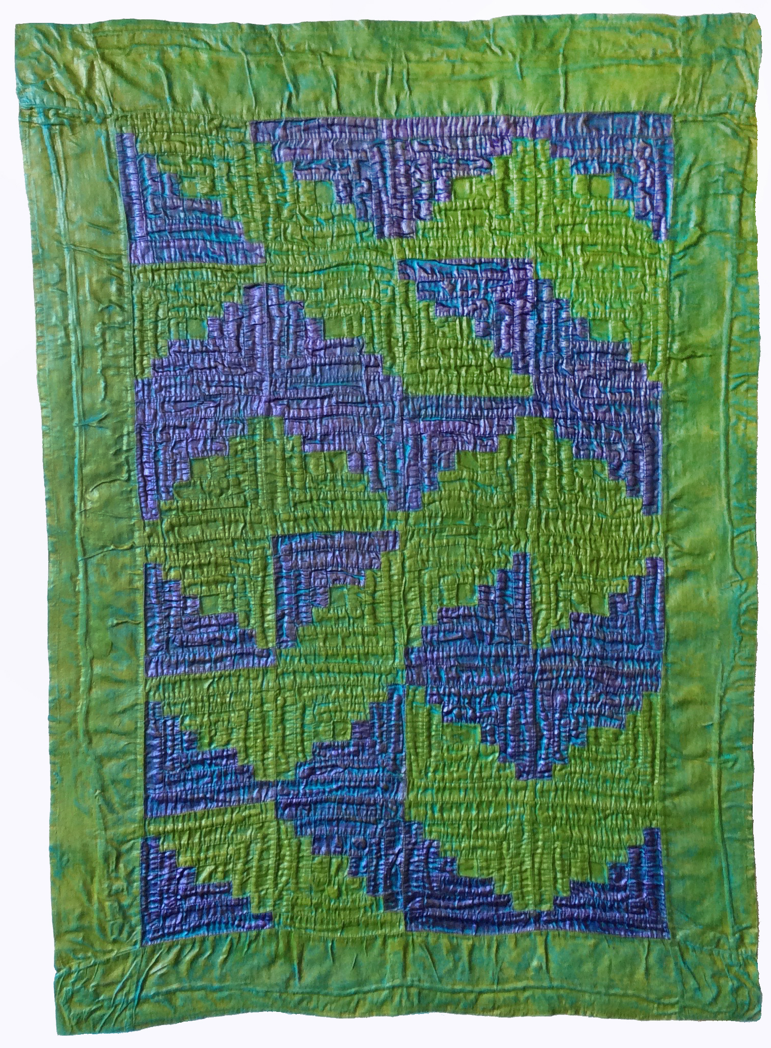 """Lavender Log Cabin"" by Denise Furnish, 40x28in, discarded log cabin crib quilt top, acrylic, $900