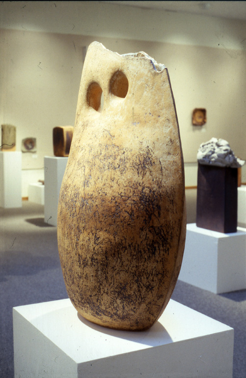 """  Approaching Conjunction""   by Marsh Pottery,   stoneware   (1984). Photograph courtesy of the Hite Art Institute."