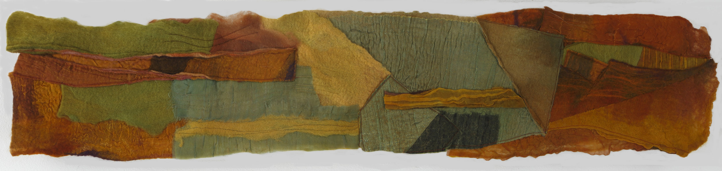 """Bottom Land"" by Vallorie Henderson, 7x35in, hand-dyed and felted Merino wool with silk organza, machine stitching, $575 
