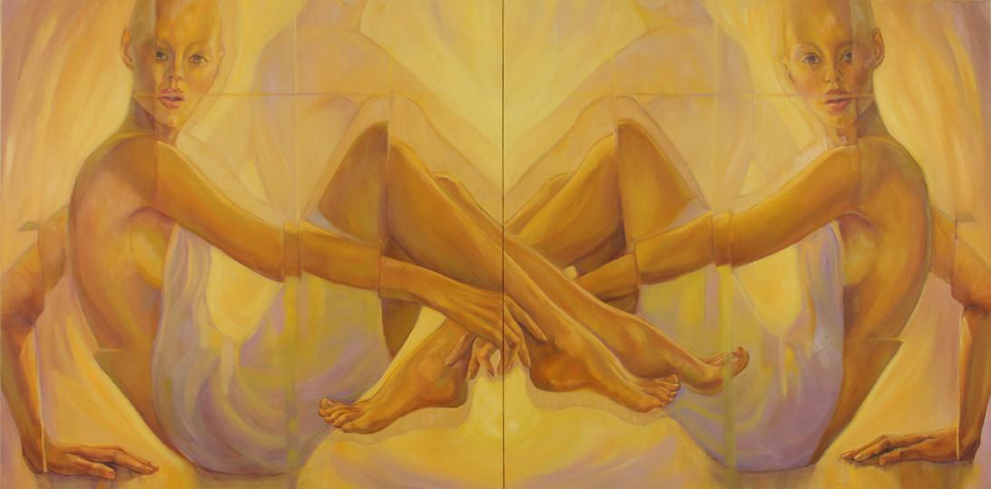 """Virtual Reflection"" by Debra Lott, 36x72in (diptych),oil on canvas (2017),$2400 | BUY NOW"