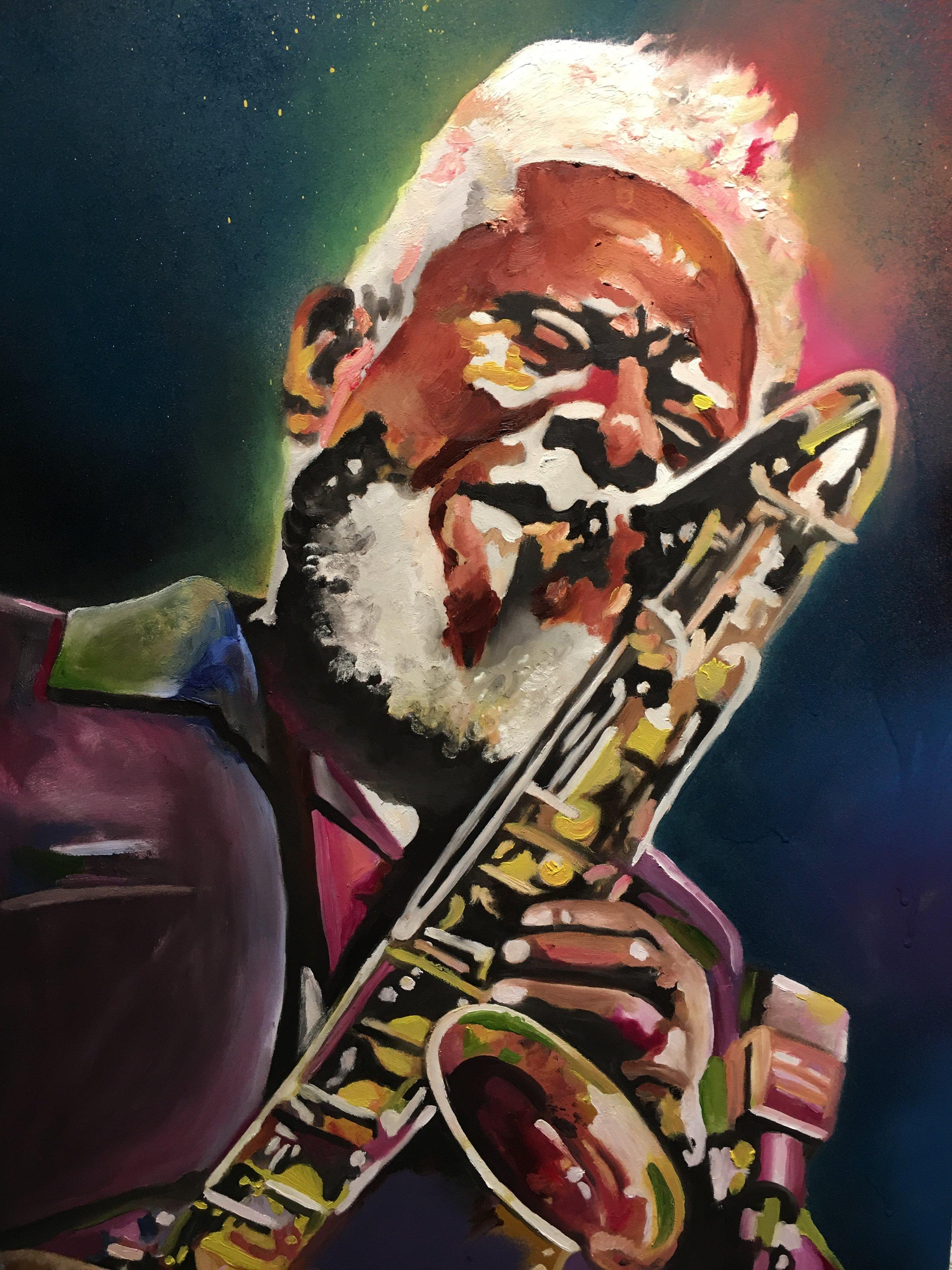 """Pharoah Sanders"" by Kacy Jackson, 48x24in, acrylic and spray paint on board"