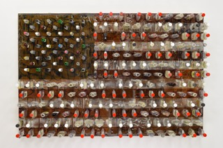 """Consume"" by Bryan K. Holden, 48x72x9in, Plastic Liquor Bottles, Cardboard Homeless Signs, Wood, Resin, Ink, Paint, Liquor, Cigarette Butts, Pills, Syringes, Keys and Wedding Ring"