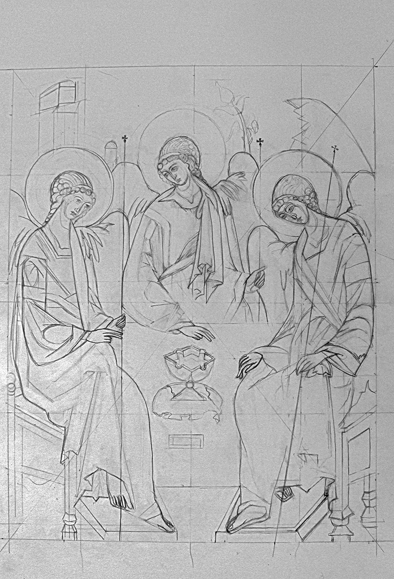 """""""The Holy Trinity"""" by Sarah Johnson, 14x22in, graphite on paper (2017)"""