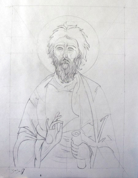 """Saint Andrew"" by Sarah Johnson, 14x22in, graphite on paper (2017)"