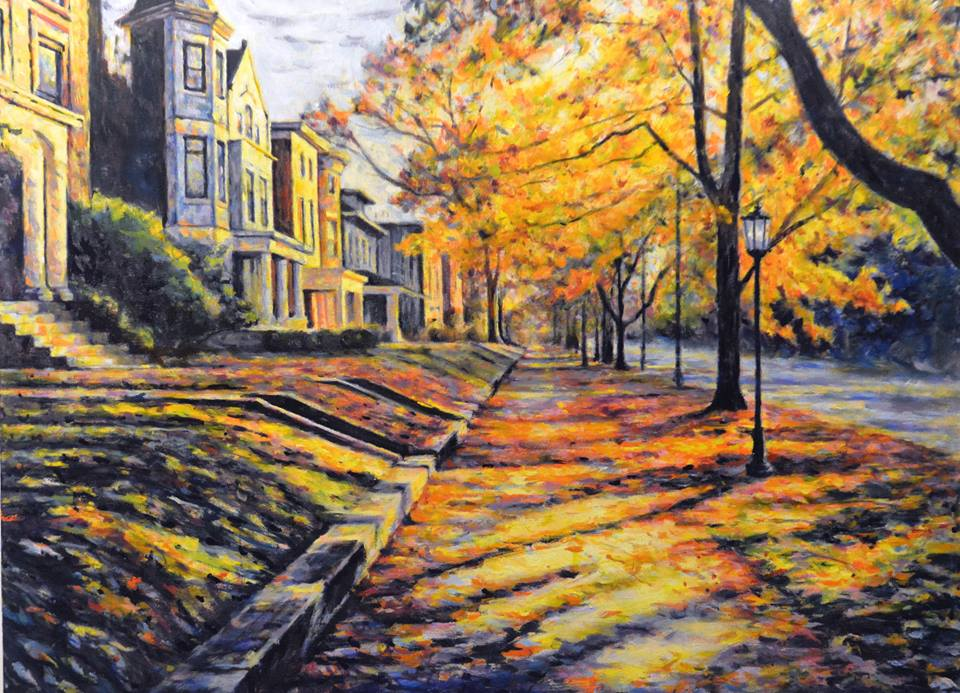 """Old Louisville in November"" by Charlotte Pollock, 24x36in, oil on canvas (2017)"