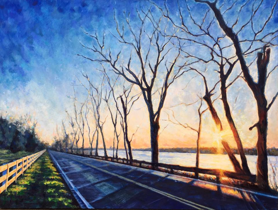 """Golden Hour on River Road"" by Charlotte Pollock, 36x48in, oil on canvas (2017)"