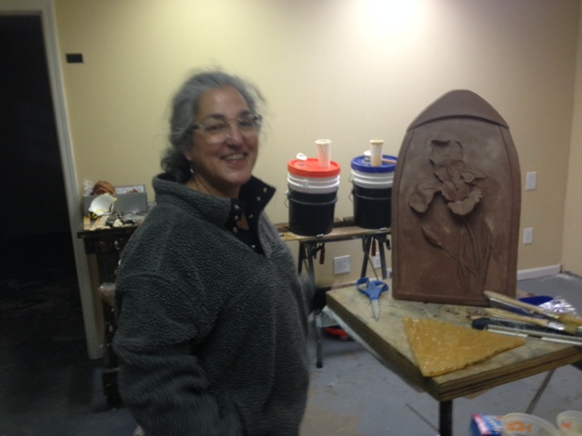 Artist, Tamina Karem with one of her recent pieces