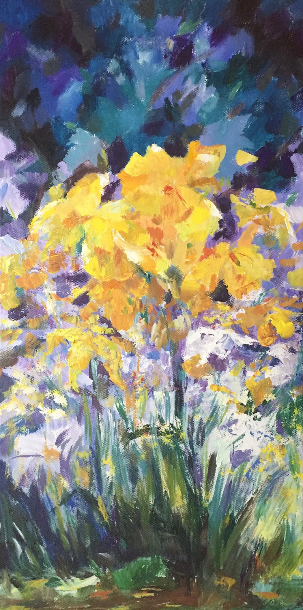 """Spring Garden"" by Cheryl Buhrman, 24x12in, acrylic on canvas (2017), $185 | BUY NOW"