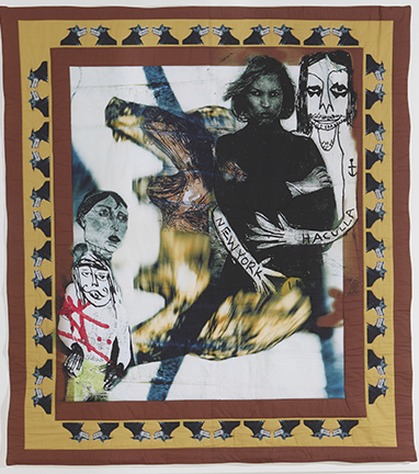 """Nightmare in the City"" by CJ Pressma,   quilt - photographic collage printed on cotton and quilted on a long arm machine, $1800 