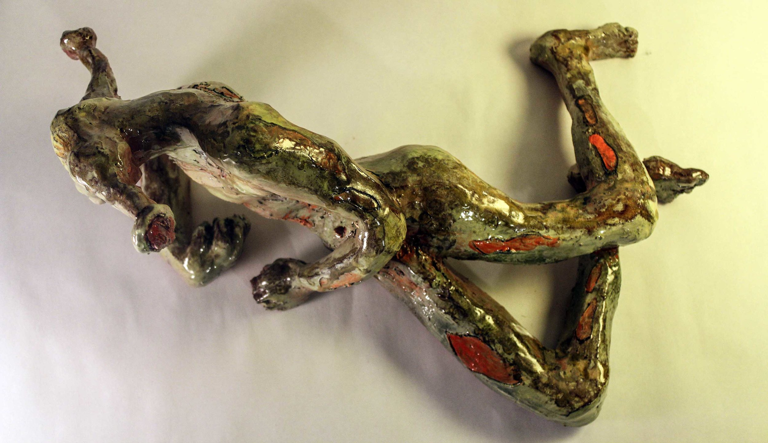 """""""Anubis, The Dragonfly and the Warrior"""" by Bailey Roman, 15x7x10in, ceramic and glaze (2017)"""