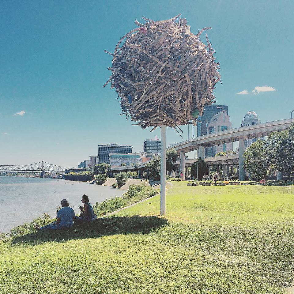River Monument (glomus) by SIMPARCH (Steven Badgett and Matt Lynch). Photo from Develop Louisville.