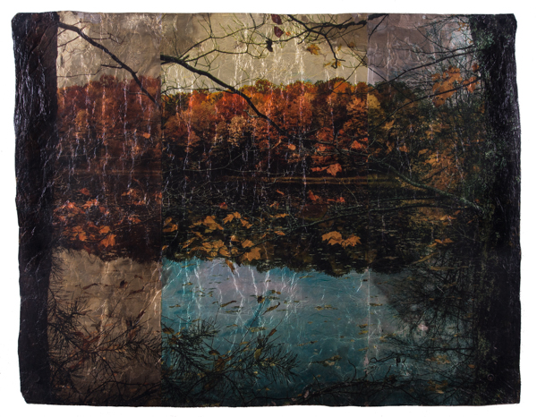"""Through the Trees Comes Autumn"" by Jenny Zeller, 30x40in, digital image transfers and oil paint on custom made aluminum substrate"
