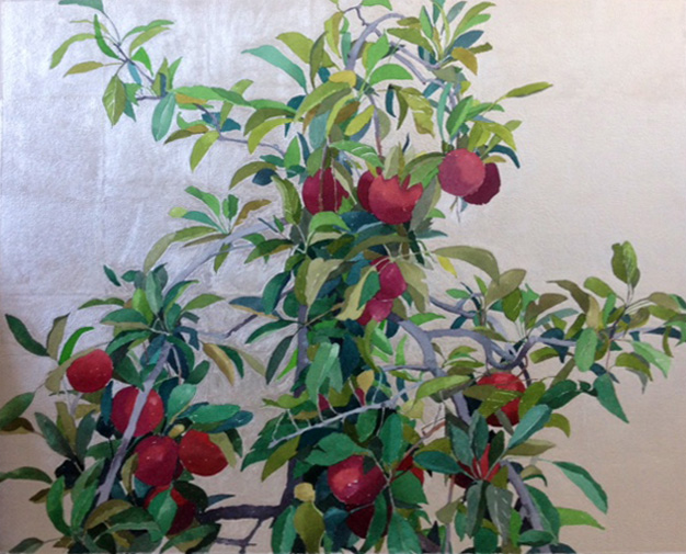 """Good Fruit II"" by Gretchen Treitz, 25x25in, watercolor, silverleaf (2016), $2000 