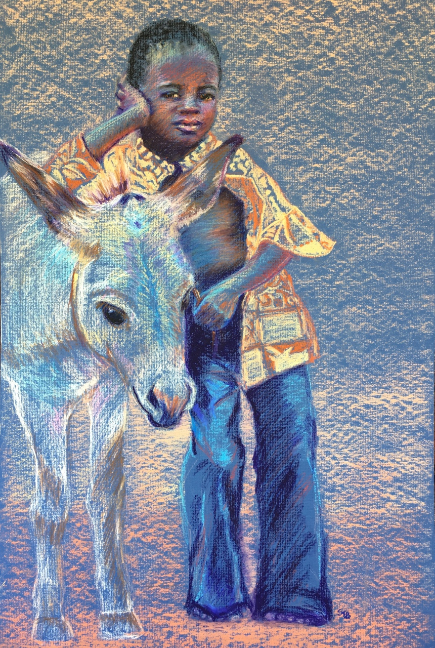 """Burkina Boy and His Donkey"" by Susan Brooks, 31x20in, pastel on mat board (2017)"