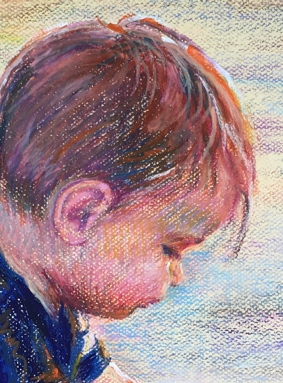 """Ollie at the Beach (detail)""  by Susan Brooks"