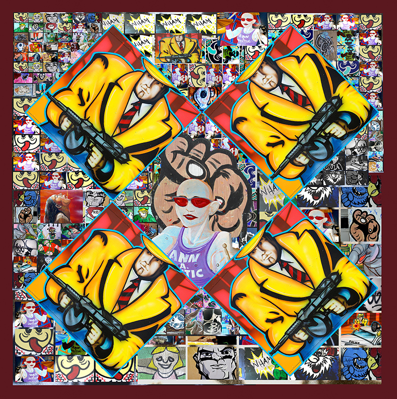 """Cartoon Weave"" by CJ Pressma, 74x76.5in, quilt - photographic collage printed on cotton and quilted on a long arm machine (2008), $1800 