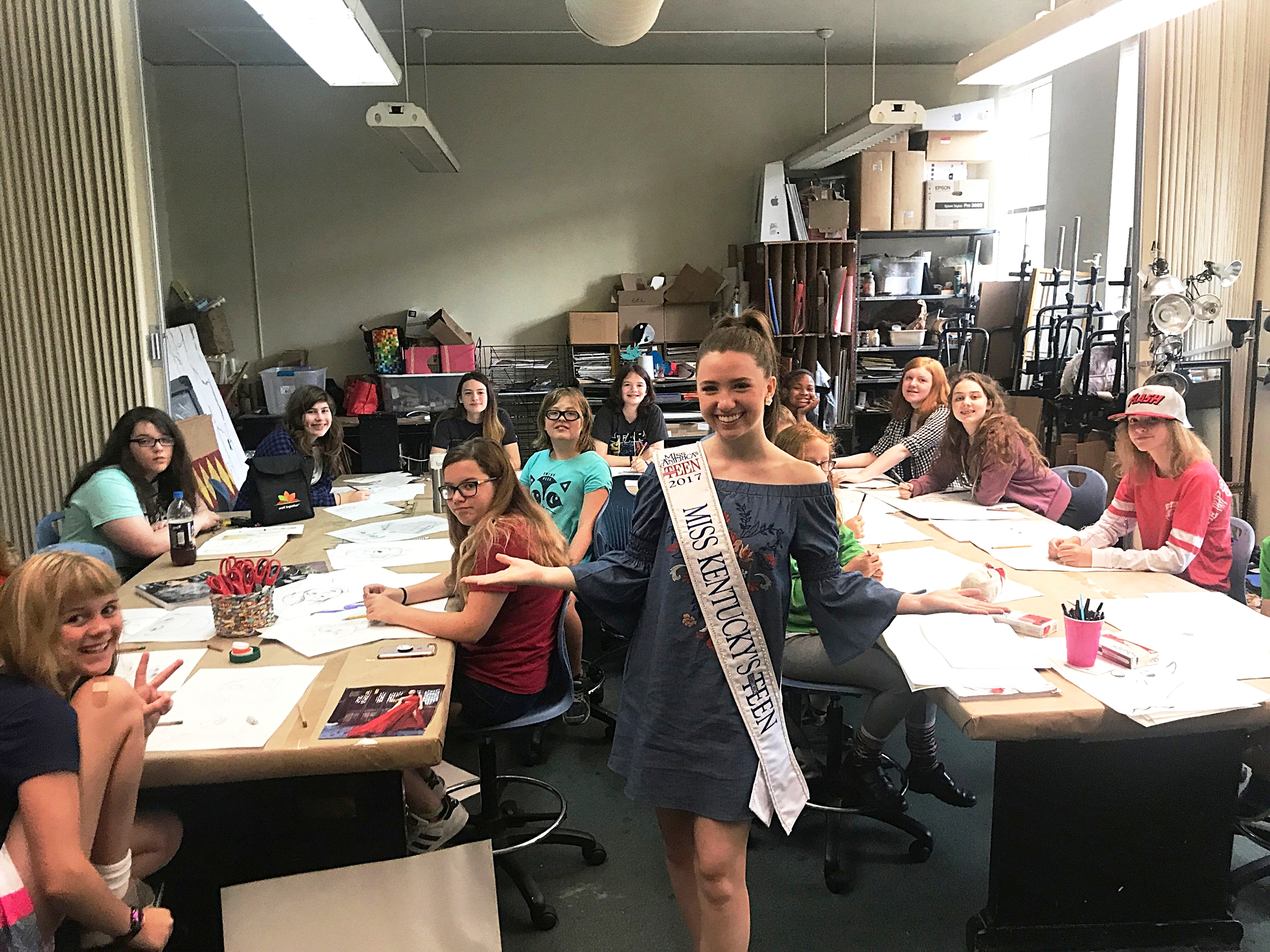 "Miss Kentucky's Outstanding Teen  2017,  Abigail ""Abby"" Quammen , visited LVA's summer camp! She is a literacy advocate and plans to become a lawyer in the entertainment industry. MKOT and  Fund for the Arts  help develop Arts Ambassadors throughout Kentucky!"