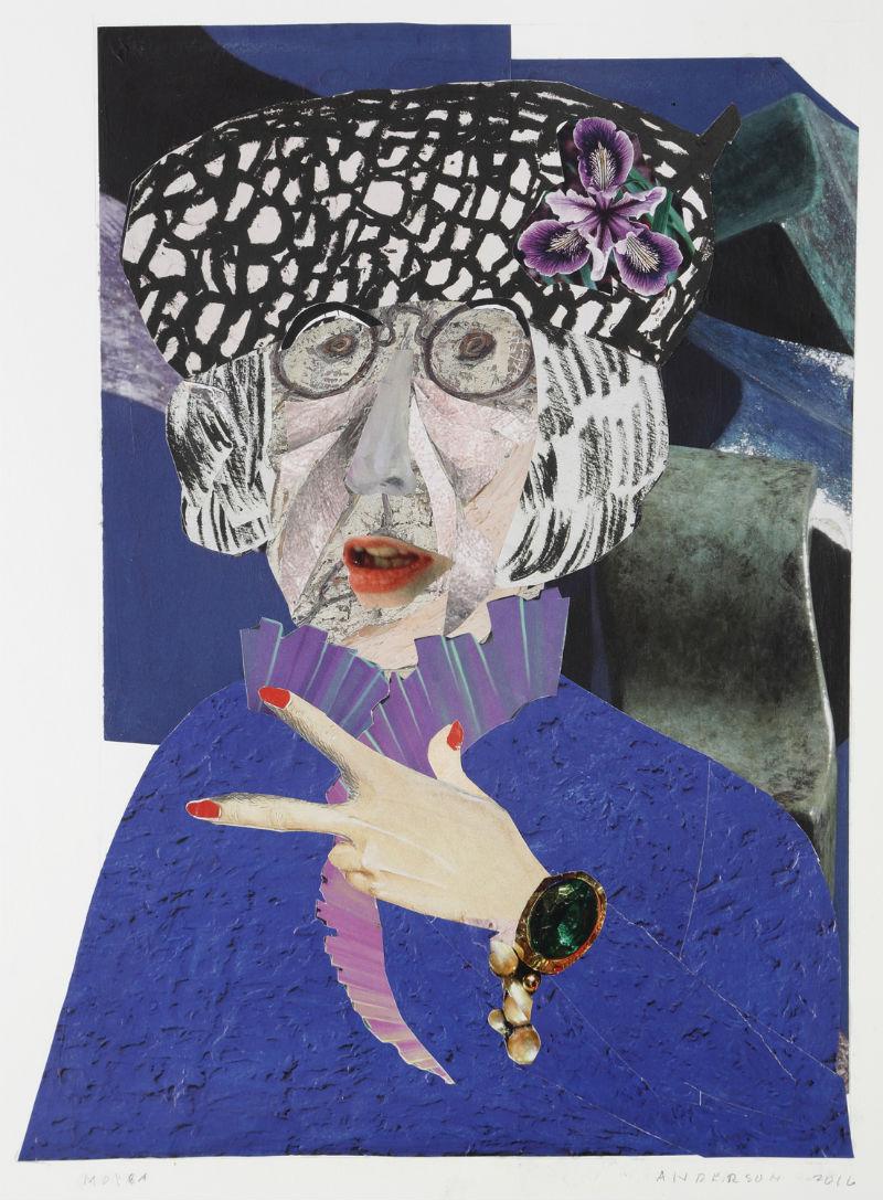 """""""Moira"""" by Ann Stewart Anderson, 16x12in, cut paper mosaic (2017)"""
