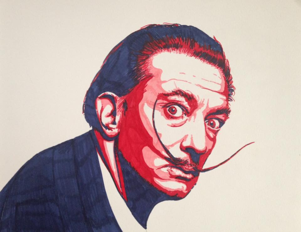 """Dali"" by Patricia Watson, 11x14in, sharpie on paper"