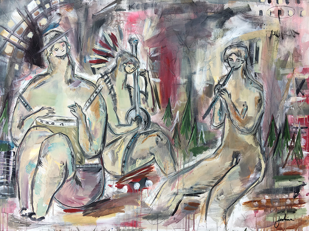 """Nature's Musicians"" by Joshua Jenkins, 36 x 48 x 1.5 in, acrylic and mixed media on canvas (2017)"